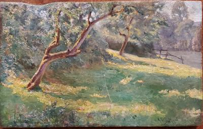 Alonzo St George Huntington Bright Forest Landscape Oil Painting by Alonzo St George Huntington