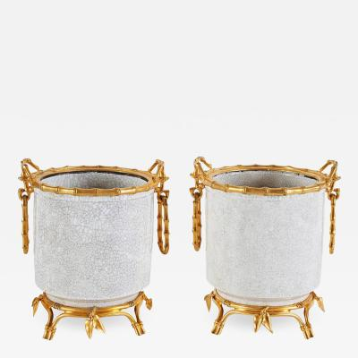 Alphonse Giroux et Cie French Japonsime Ormolu Mounted Chinese Crackle Glaze Porcelain Cahcepots Pair