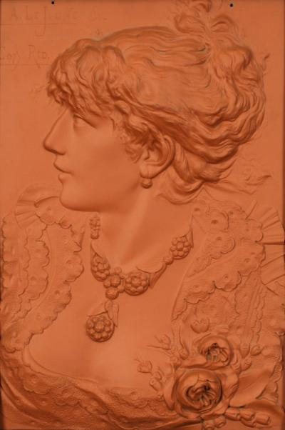Alphonse LeJeune American Art Nouveau Terra Cotta Wall Plaque by Alphonse LeJeune circa 1900