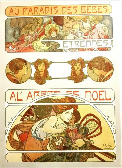 Alphonse Maria Mucha Alfons Mucha Original Lithograph Christmas Baby Party 1902