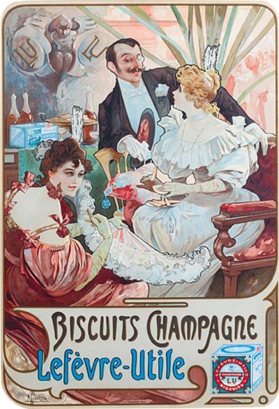 Alphonse Maria Mucha Art Nouveau Lithograph Biscuits Champagne Lef vre Utile