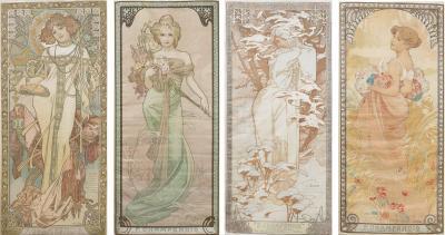 Alphonse Maria Mucha Four Seasons Lithographs on Silk by Alphonse Mucha