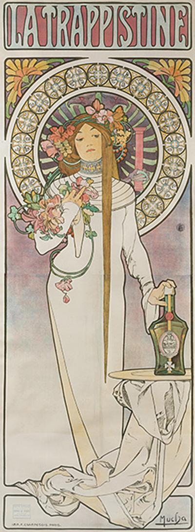 Alphonse Maria Mucha French Art Nouveau LIthograph La Trappistine by Alphonse Mucha