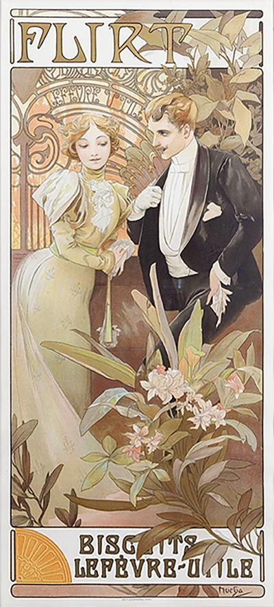 Alphonse Maria Mucha French Art Nouveau Lithograph Flirt Biscuits by Mucha