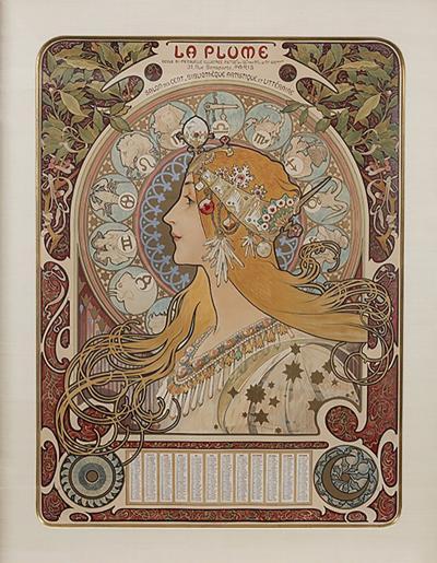 Alphonse Maria Mucha French Art Nouveau Lithograph La Plume Zodiac by Alphonse Mucha