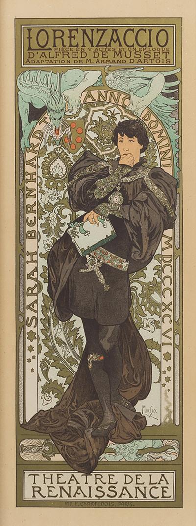 Alphonse Maria Mucha French Art Nouveau Lithograph Lorenzaccio Alphonse Mucha