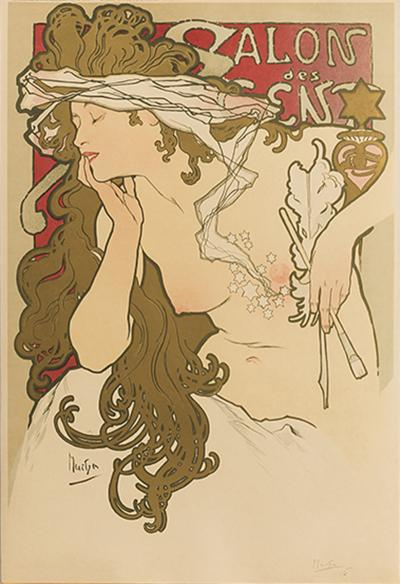 Alphonse Maria Mucha French Art Nouveau Lithograph Salons des Cent XXeme Exposition by Mucha