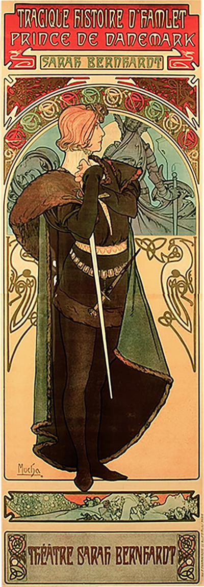 Alphonse Maria Mucha French Art Nouveau Lithograph titled Hamlet by Alphonse Mucha