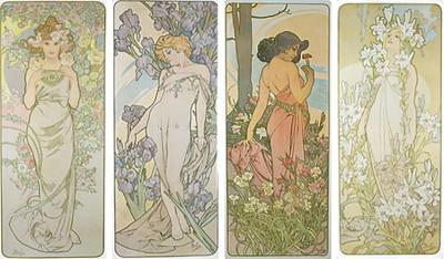 Alphonse Maria Mucha French Art Nouveau Lithographs Les Fleurs by Mucha