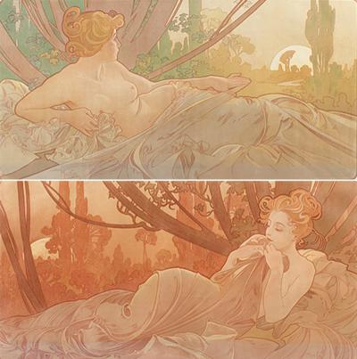 Alphonse Maria Mucha Pair of French Art Nouveau Lithographs Dawn and Dusk by Alphonse Mucha
