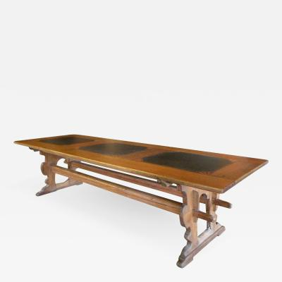 Alpine Swiss 18th Century Rustic long Pine and Slate inset Dining Table