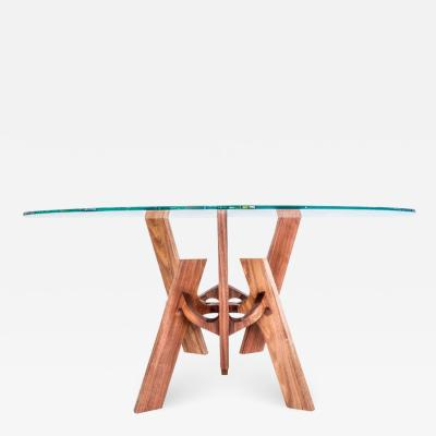 Altair Contemporary Wood and Glass Center or Dining Table in Tzalam Wood