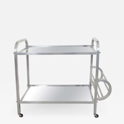 Aluminum and Mirror Bar Cart