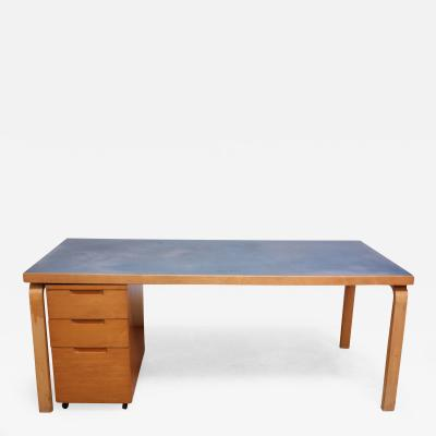 Alvar Aalto Alvar Aalto Birch Dining or Writing Table with Blue Top and Cabinet