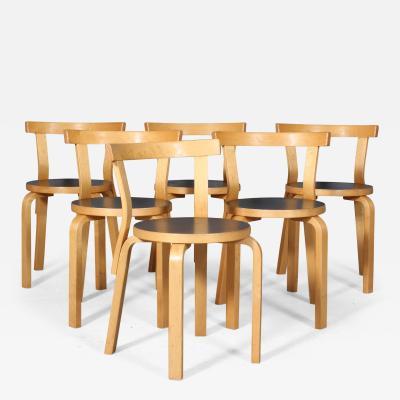 Alvar Aalto Alvar Aalto Six birch wood chairs model 68