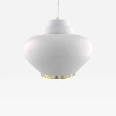 Alvar Aalto Pendant model A333 made of white lacquered aluminum with a steel ring in brass