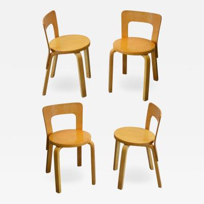 Alvar Aalto Set of 4 Chairs model 65 by Alvar Aalto for Artek