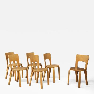 Alvar Aalto Set of six Midcentury chair by Alvar Aalto first edition for Artek from 1950s