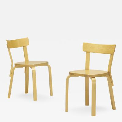 Alvar Aalto chairs model 69 pair