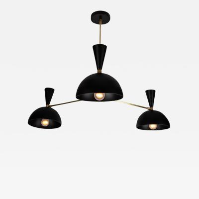Alvaro Benitez Large Three Cone Lola II Chandelier in Black