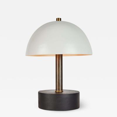 Alvaro Benitez Nena Table Lamp in White Metal and Wood by Alvaro Benitez