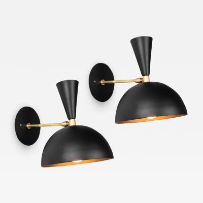 Alvaro Benitez Pair of Large Lola II Sconces in Black