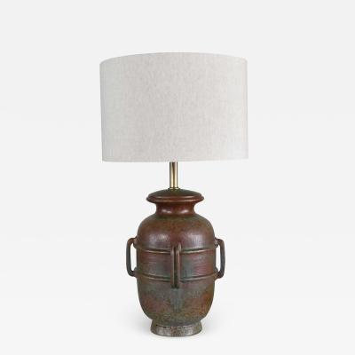 Alvino Bagni Italian green pottery lamp by raymor attributed to alvino bagni