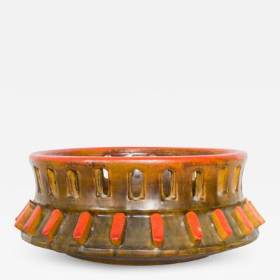 Alvino Bagni Italy RAYMOR ALVINO BAGNI Sea Garden Orange ASHTRAY Carved Ceramic Art 1960