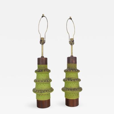 Alvino Bagni Pair of Hand Cast Ceramic Lamps by Alvino Bagni