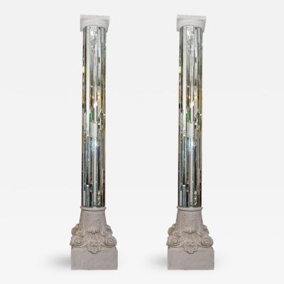 Amazing 1970s Modern Monumental Pair of Mirrored White Columns