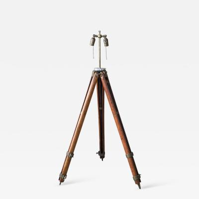 Amazing Architect Surveyor Base Oak Tripod Floor Lamp Repurposed Vintage