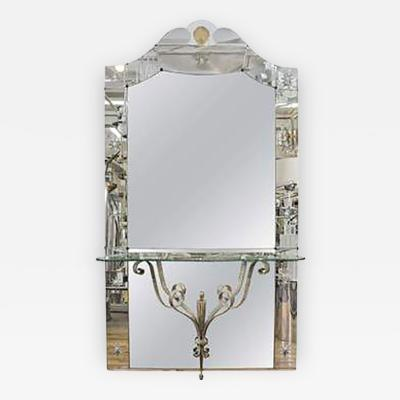 Amazing Italian Hollywood Regency Mirror with Console Shelf