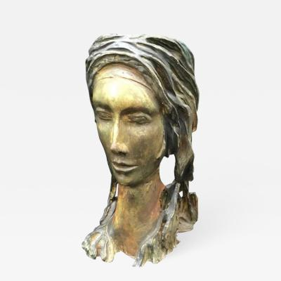 Amazing Terracotta Sculpture of a Woman Face Italy 1950