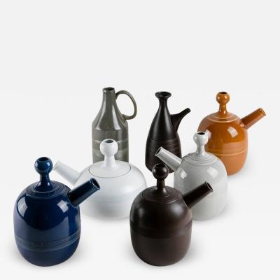 Ambrogio Pozzi Unique Set of Seven Ceramic Carafes by Ambrogio Pozzi for Pozzi