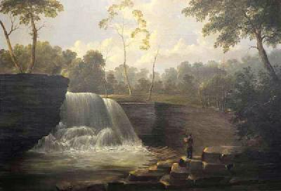 Ambrose Andrews Landscape Painting of Cascading Falls