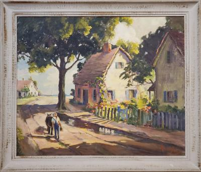 Amee Mrs Leland Davis Road To The Sea A Landscape Oil Painting signed by Amee Davis