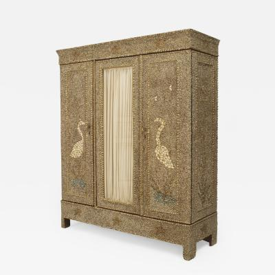 American 1960s Grotto Style Sea Shell Veneer 3 Door Armoire Cabinet