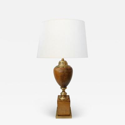 American 1960s Leather clad and Brass Table Lamp