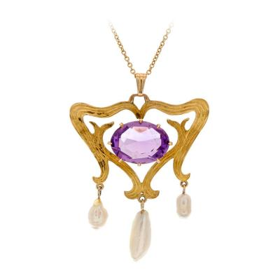 American Amethyst Pearl Yellow Gold Antique Drop Pendant