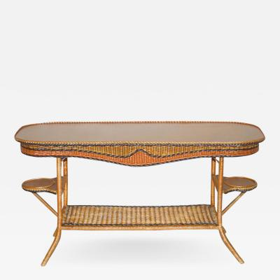 American Art Deco Wicker Davenport Table