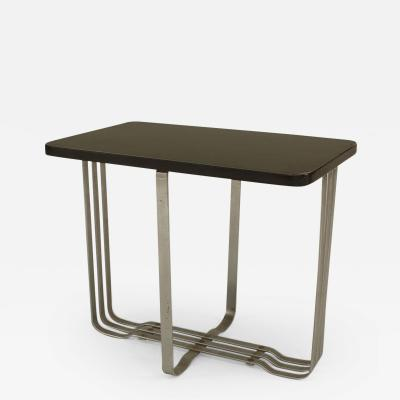 American Art Moderne Chrome Base Low End Table with Rectangular Ebonized Top