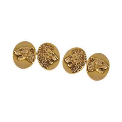 American Art Nouveau Gold Lion Cuff Links