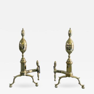 American Brass Double Lemon Top Andirons