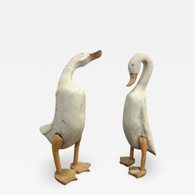 American Carved and painted pair of Folk Art Ducks