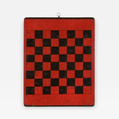 American Checker Board with Great Polychrome Painted Surface