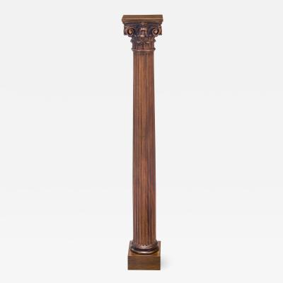 American Classical Column Oak Pedestal