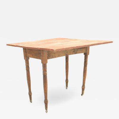 American Country Rustic Red Painted Drop Leaf Table