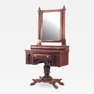 American Empire Gothic Mahogany Dressing Table