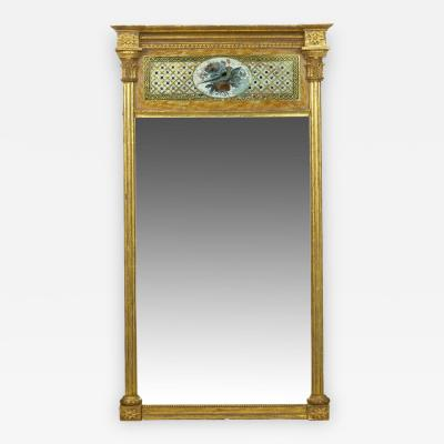 American Federal Giltwood Eglomise Antique Pier Mirror c 1805 15