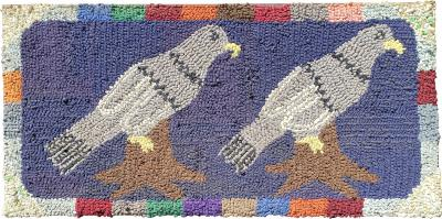 American Hooked Rug of Two Birds